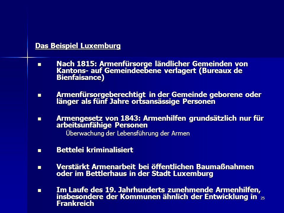 25 Das Beispiel Luxemburg Nach 1815: Armenfürsorge ländlicher Gemeinden von Kantons- auf Gemeindeebene verlagert (Bureaux de Bienfaisance) Nach 1815: