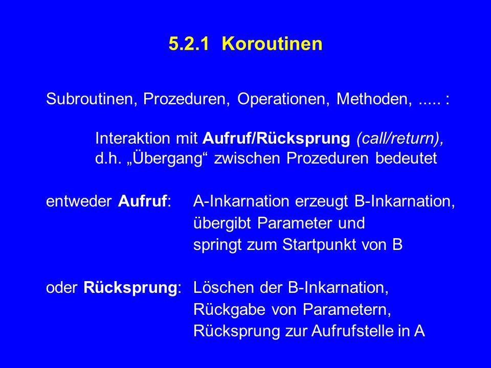 """5.2.1 Koroutinen Subroutinen, Prozeduren, Operationen, Methoden,..... : Interaktion mit Aufruf/Rücksprung (call/return), d.h. """"Übergang"""" zwischen Proz"""