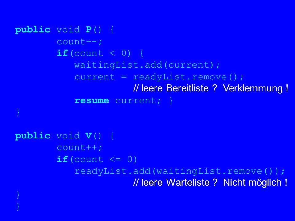 public void P() { count--; if(count < 0) { waitingList.add(current); current = readyList.remove(); // leere Bereitliste ? Verklemmung ! resume current