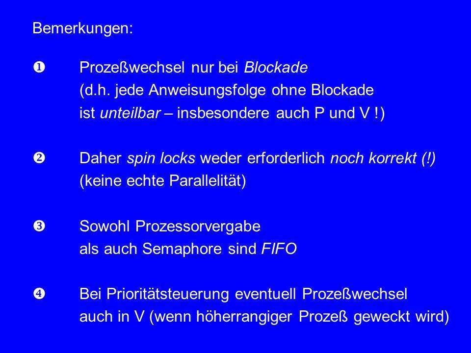 Bemerkungen:  Prozeßwechsel nur bei Blockade (d.h. jede Anweisungsfolge ohne Blockade ist unteilbar – insbesondere auch P und V !)  Daher spin locks