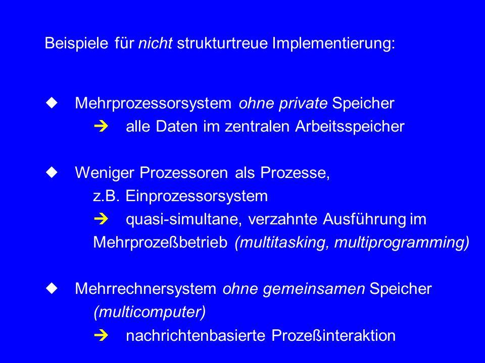 """5.2 Mehrprozeßbetrieb Vor.:(zunächst) nur 1 Prozessor Idee:Prozessor ist abwechselnd mit der Ausführung der beteiligten Prozesse befaßt (""""quasi-simultane Ausführung, processor multiplexing) (multitasking, multiprogramming)"""