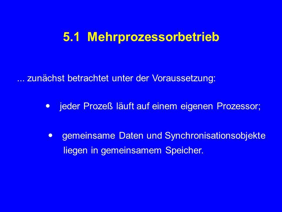 5.1 Mehrprozessorbetrieb... zunächst betrachtet unter der Voraussetzung:  jeder Prozeß läuft auf einem eigenen Prozessor;  gemeinsame Daten und Sync