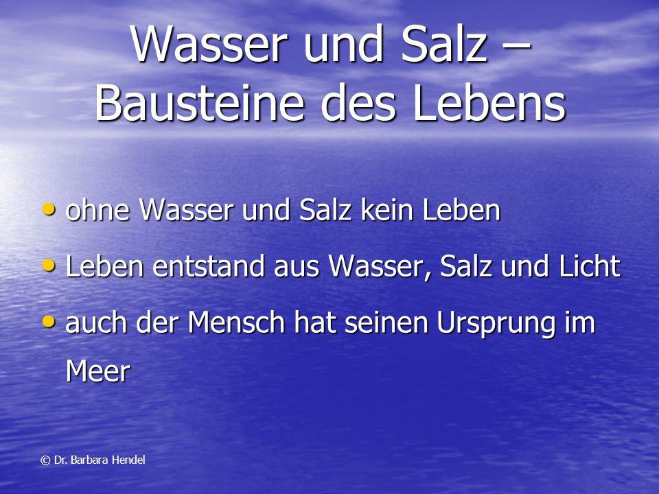 Wasser und Salz – Bausteine des Lebens ohne Wasser und Salz kein Leben ohne Wasser und Salz kein Leben Leben entstand aus Wasser, Salz und Licht Leben