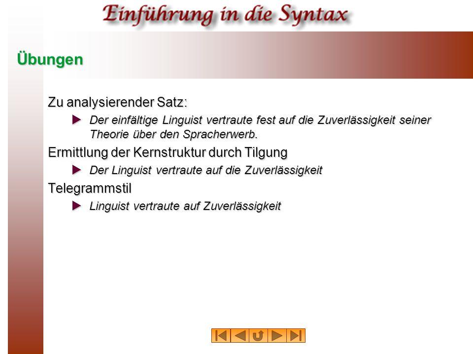 Übungen Zu analysierender Satz:  Der einfältige Linguist vertraute fest auf die Zuverlässigkeit seiner Theorie über den Spracherwerb.