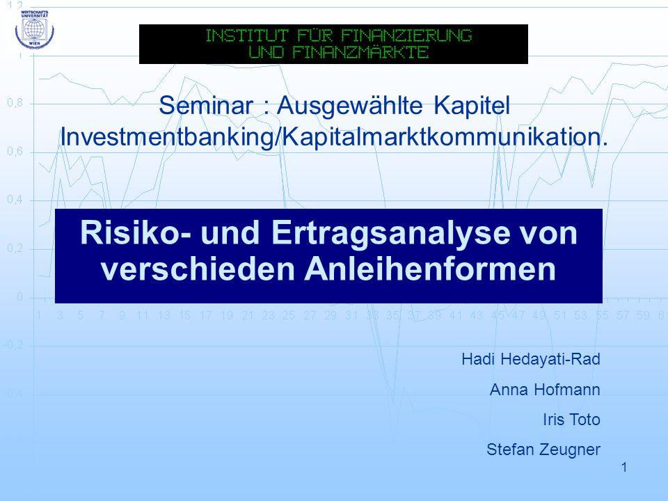 2 Vorgabe Artikel: Risiko- und Ertragsanalyse von verschiedenen Anleihenformen Autor: Andre Tomfort Quelle: Finanz Betrieb, März 2002 Datenbasis: EMBI, ELMI, GBI, SBCT BBB Instrumente: 1.