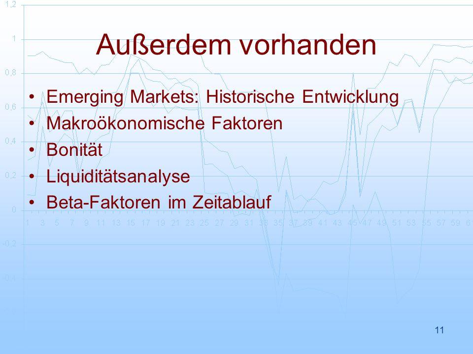 11 Außerdem vorhanden Emerging Markets: Historische Entwicklung Makroökonomische Faktoren Bonität Liquiditätsanalyse Beta-Faktoren im Zeitablauf