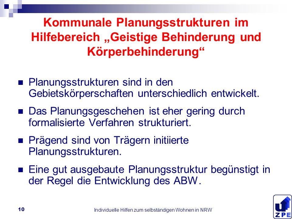 """Individuelle Hilfen zum selbständigen Wohnen in NRW 10 Kommunale Planungsstrukturen im Hilfebereich """"Geistige Behinderung und Körperbehinderung Planungsstrukturen sind in den Gebietskörperschaften unterschiedlich entwickelt."""