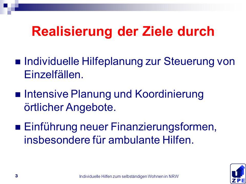 Individuelle Hilfen zum selbständigen Wohnen in NRW 3 Realisierung der Ziele durch Individuelle Hilfeplanung zur Steuerung von Einzelfällen.