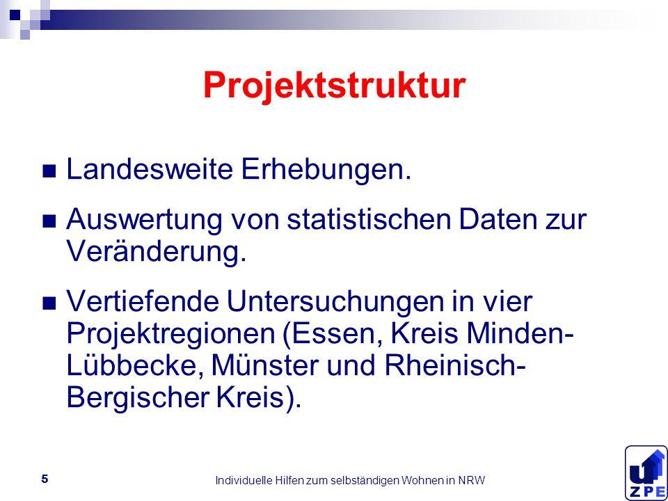 Individuelle Hilfen zum selbständigen Wohnen in NRW 5 Projektstruktur Landesweite Erhebungen.