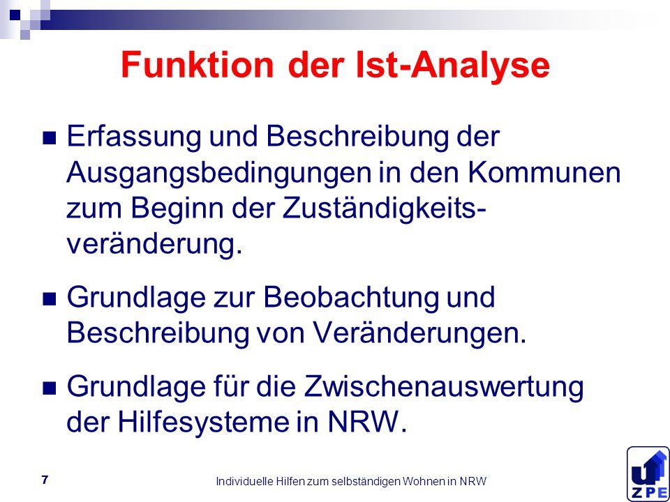 Individuelle Hilfen zum selbständigen Wohnen in NRW 7 Funktion der Ist-Analyse Erfassung und Beschreibung der Ausgangsbedingungen in den Kommunen zum Beginn der Zuständigkeits- veränderung.