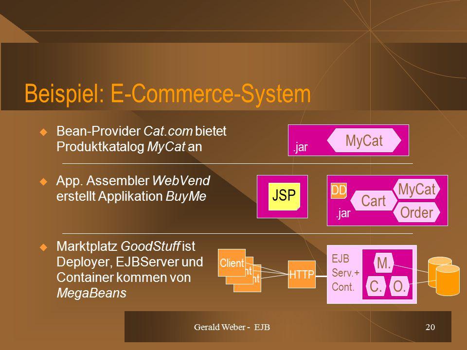 Gerald Weber - EJB 20 Beispiel: E-Commerce-System  Bean-Provider Cat.com bietet Produktkatalog MyCat an  App. Assembler WebVend erstellt Applikation