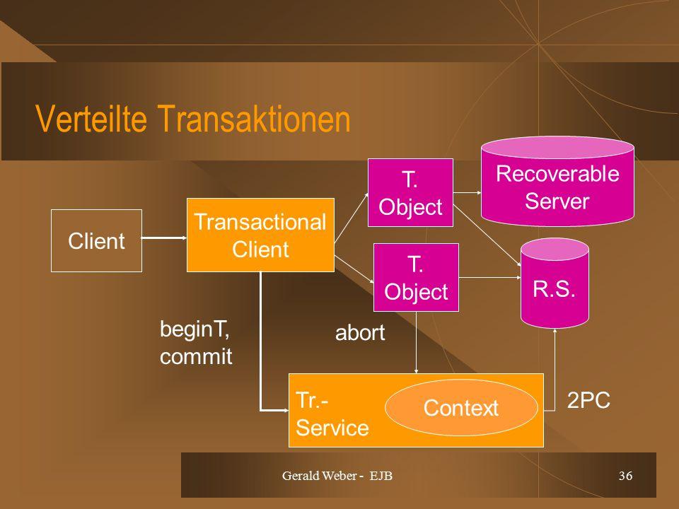 Gerald Weber - EJB 36 Verteilte Transaktionen Context Client Transactional Client T. Object Recoverable Server R.S. T. Object beginT, commit abort 2PC
