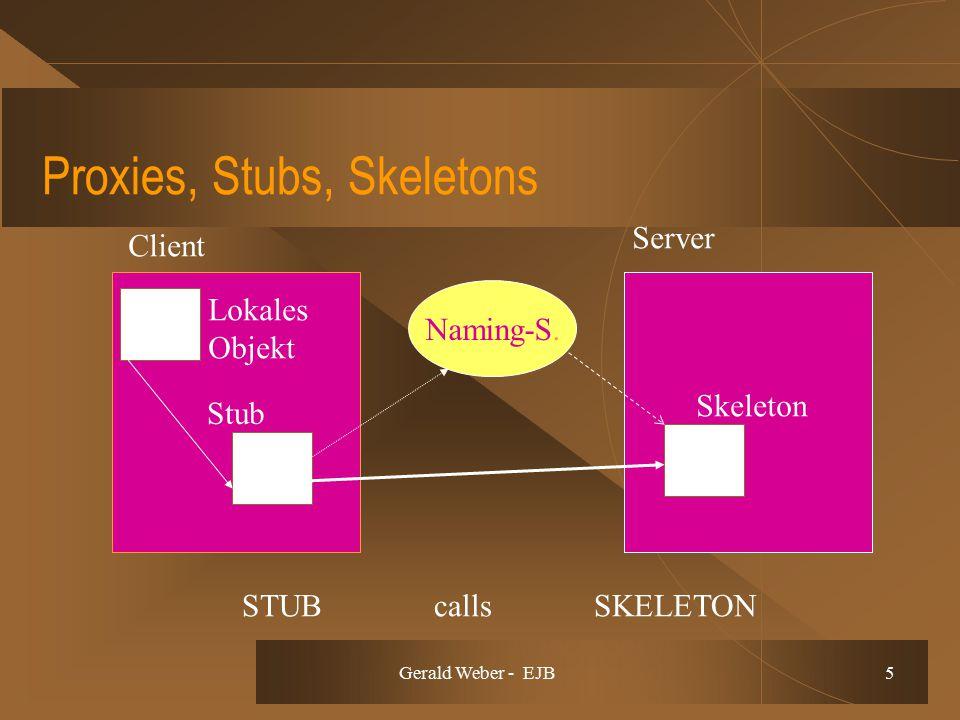 Gerald Weber - EJB 5 Stub Naming-S. STUB calls SKELETON Skeleton Client Server Lokales Objekt Proxies, Stubs, Skeletons