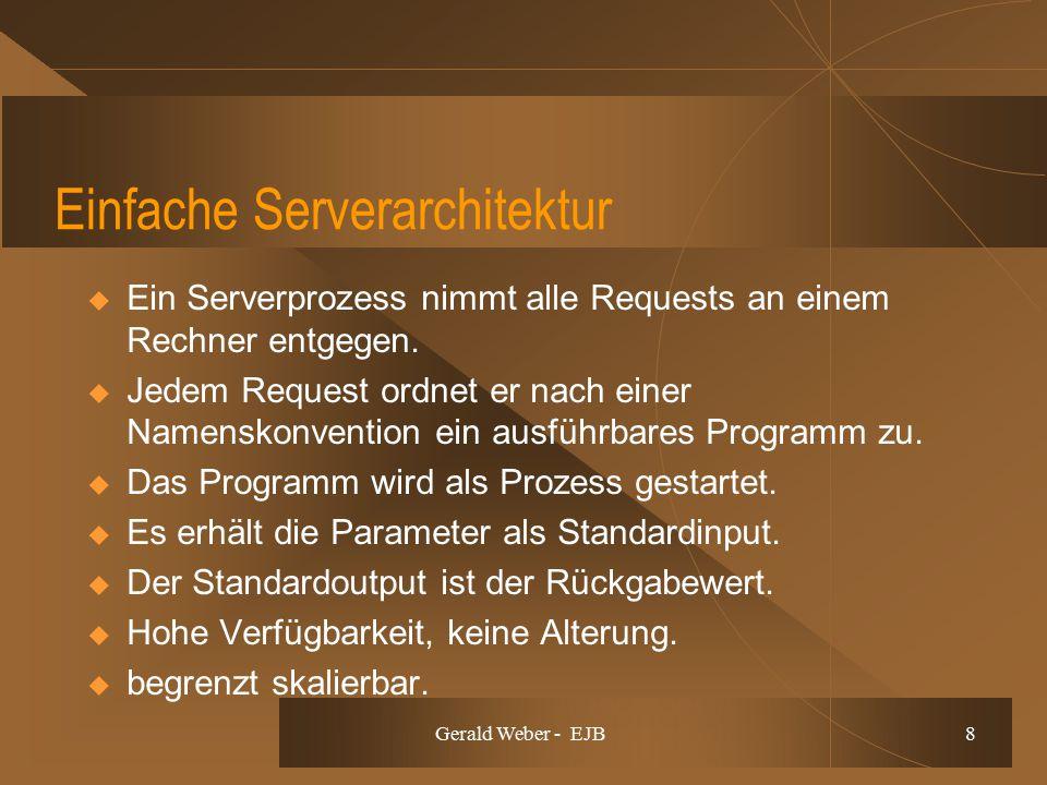 Gerald Weber - EJB 8 Einfache Serverarchitektur  Ein Serverprozess nimmt alle Requests an einem Rechner entgegen.  Jedem Request ordnet er nach eine