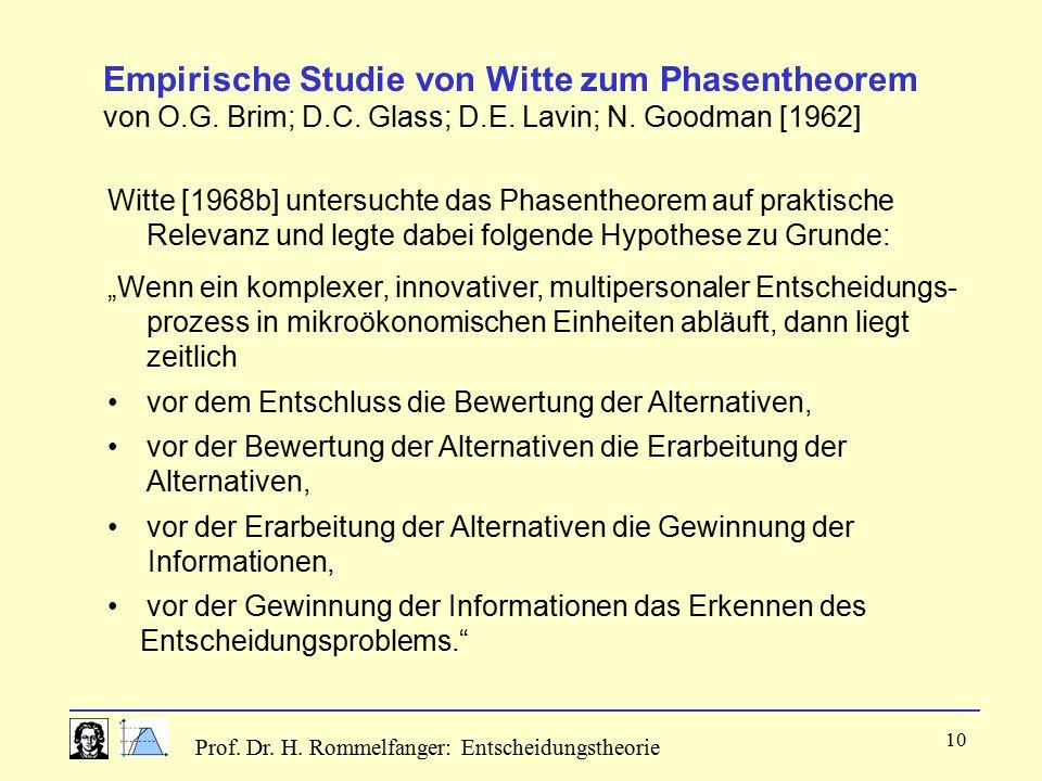 Prof. Dr. H. Rommelfanger: Entscheidungstheorie 10 Empirische Studie von Witte zum Phasentheorem von O.G. Brim; D.C. Glass; D.E. Lavin; N. Goodman [19