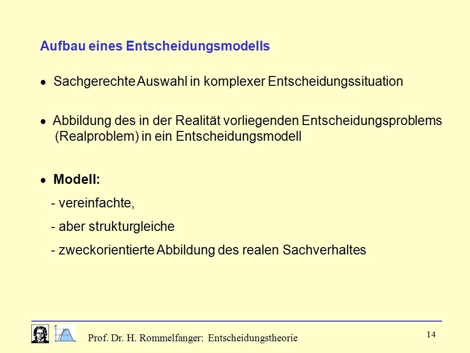 Prof. Dr. H. Rommelfanger: Entscheidungstheorie 14 Aufbau eines Entscheidungsmodells  Sachgerechte Auswahl in komplexer Entscheidungssituation  Mode