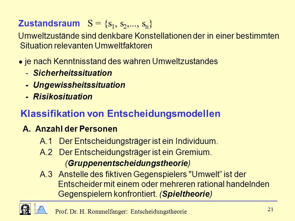 Prof. Dr. H. Rommelfanger: Entscheidungstheorie 21 Zustandsraum S = {s 1, s 2,..., s n } Umweltzustände sind denkbare Konstellationen der in einer bes