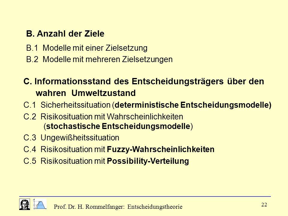 Prof. Dr. H. Rommelfanger: Entscheidungstheorie 22 B. Anzahl der Ziele B.1 Modelle mit einer Zielsetzung B.2 Modelle mit mehreren Zielsetzungen C. Inf