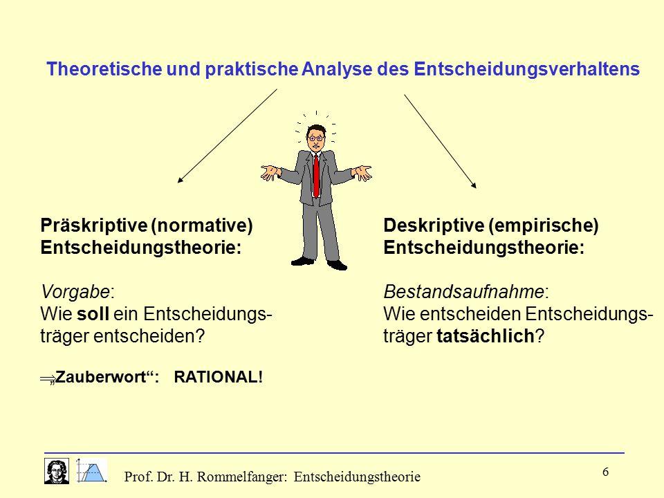 Prof. Dr. H. Rommelfanger: Entscheidungstheorie 6 Theoretische und praktische Analyse des Entscheidungsverhaltens Präskriptive (normative) Entscheidun