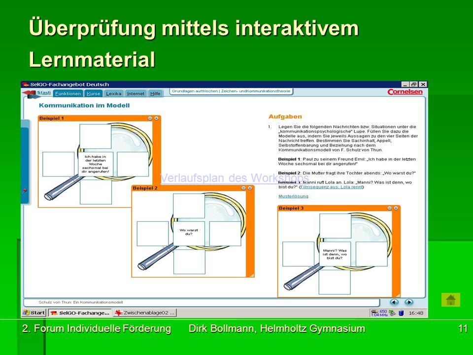2. Forum Individuelle Förderung Dirk Bollmann, Helmholtz Gymnasium11 Überprüfung mittels interaktivem Lernmaterial Verlaufsplan des Workshops