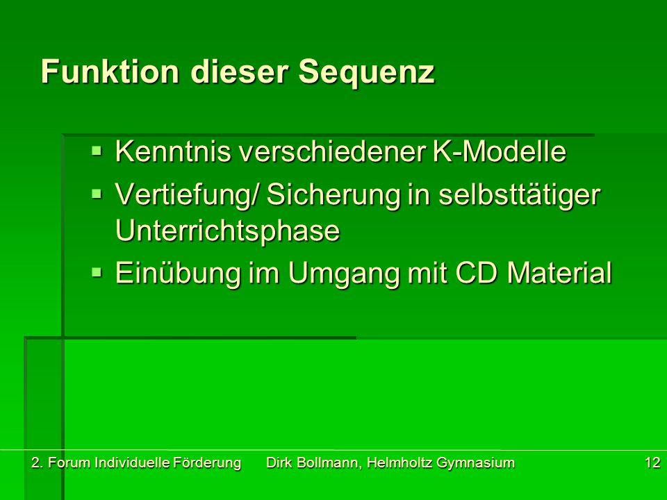 2. Forum Individuelle Förderung Dirk Bollmann, Helmholtz Gymnasium12 Funktion dieser Sequenz  Kenntnis verschiedener K-Modelle  Vertiefung/ Sicherun