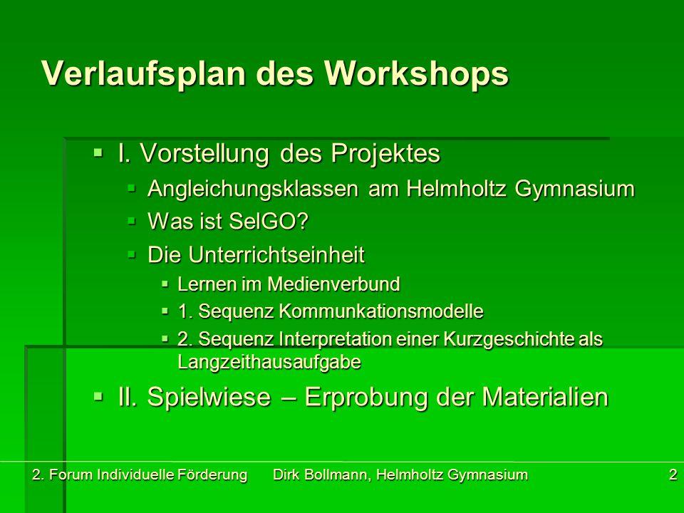 2. Forum Individuelle Förderung Dirk Bollmann, Helmholtz Gymnasium2 Verlaufsplan des Workshops  I. Vorstellung des Projektes  Angleichungsklassen am