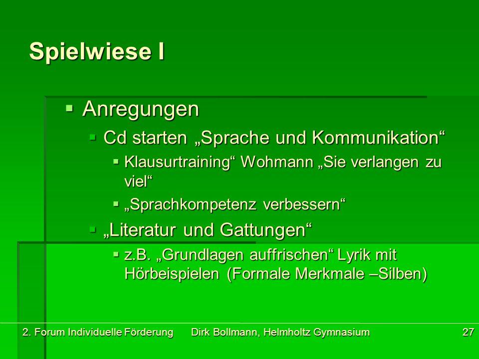 """2. Forum Individuelle Förderung Dirk Bollmann, Helmholtz Gymnasium27 Spielwiese I  Anregungen  Cd starten """"Sprache und Kommunikation""""  Klausurtrain"""
