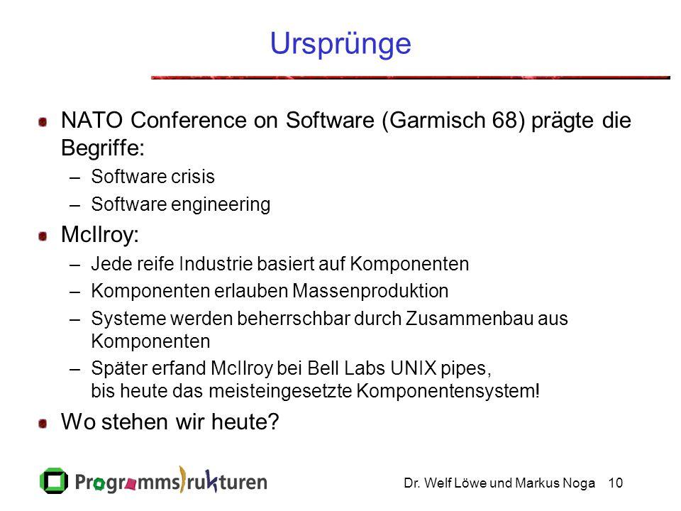 Dr. Welf Löwe und Markus Noga10 Ursprünge NATO Conference on Software (Garmisch 68) prägte die Begriffe: –Software crisis –Software engineering McIlro