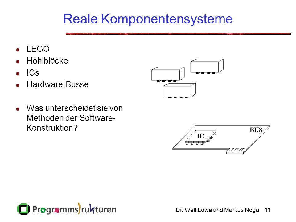 Dr. Welf Löwe und Markus Noga11 Reale Komponentensysteme LEGO Hohlblöcke ICs Hardware-Busse Was unterscheidet sie von Methoden der Software- Konstrukt