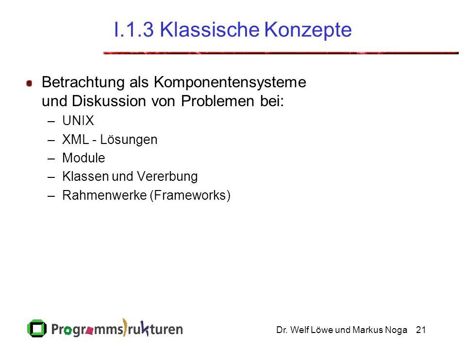Dr. Welf Löwe und Markus Noga21 I.1.3 Klassische Konzepte Betrachtung als Komponentensysteme und Diskussion von Problemen bei: –UNIX –XML - Lösungen –