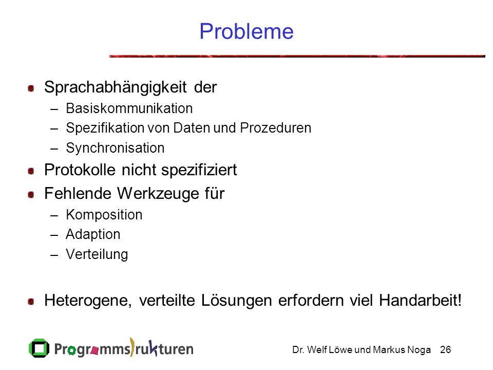 Dr. Welf Löwe und Markus Noga26 Probleme Sprachabhängigkeit der –Basiskommunikation –Spezifikation von Daten und Prozeduren –Synchronisation Protokoll