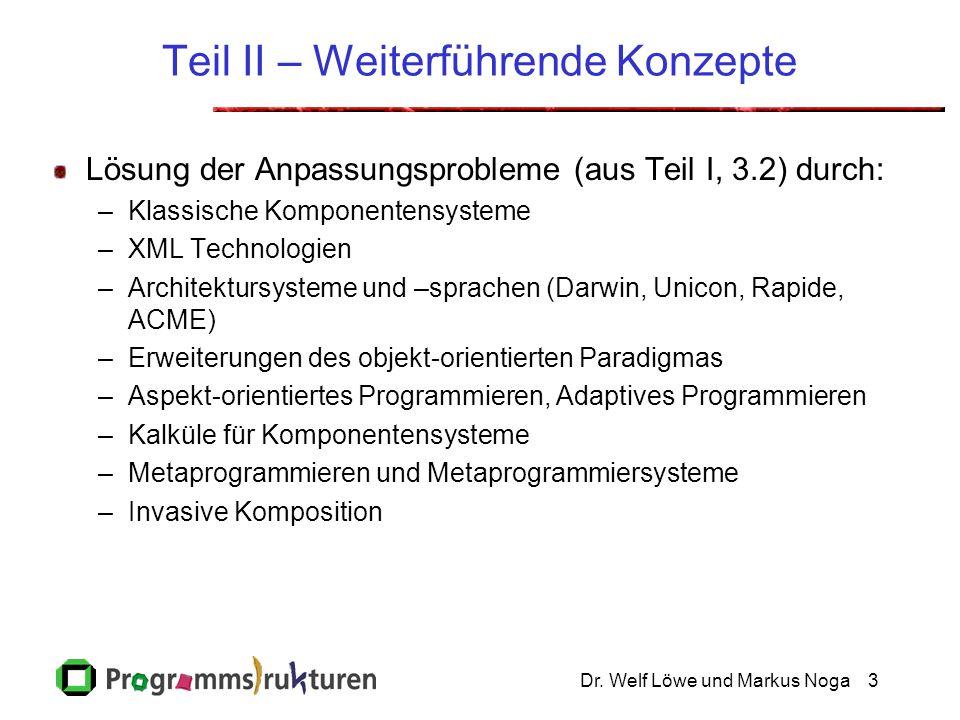 Dr. Welf Löwe und Markus Noga3 Teil II – Weiterführende Konzepte Lösung der Anpassungsprobleme (aus Teil I, 3.2) durch: –Klassische Komponentensysteme