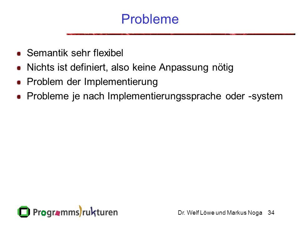 Dr. Welf Löwe und Markus Noga34 Probleme Semantik sehr flexibel Nichts ist definiert, also keine Anpassung nötig Problem der Implementierung Probleme