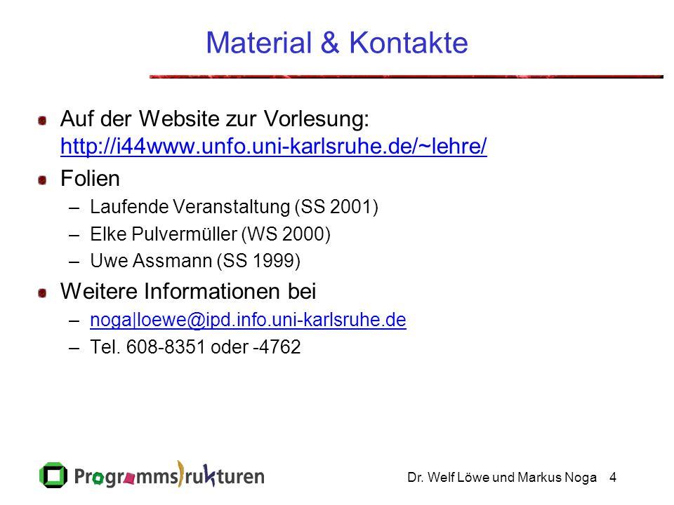 Dr. Welf Löwe und Markus Noga4 Material & Kontakte Auf der Website zur Vorlesung: http://i44www.unfo.uni-karlsruhe.de/~lehre/ http://i44www.unfo.uni-k