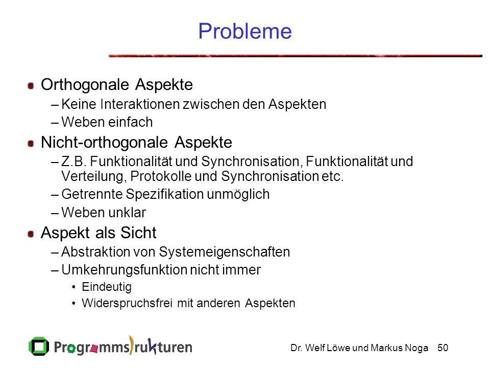 Dr. Welf Löwe und Markus Noga50 Probleme Orthogonale Aspekte –Keine Interaktionen zwischen den Aspekten –Weben einfach Nicht-orthogonale Aspekte –Z.B.