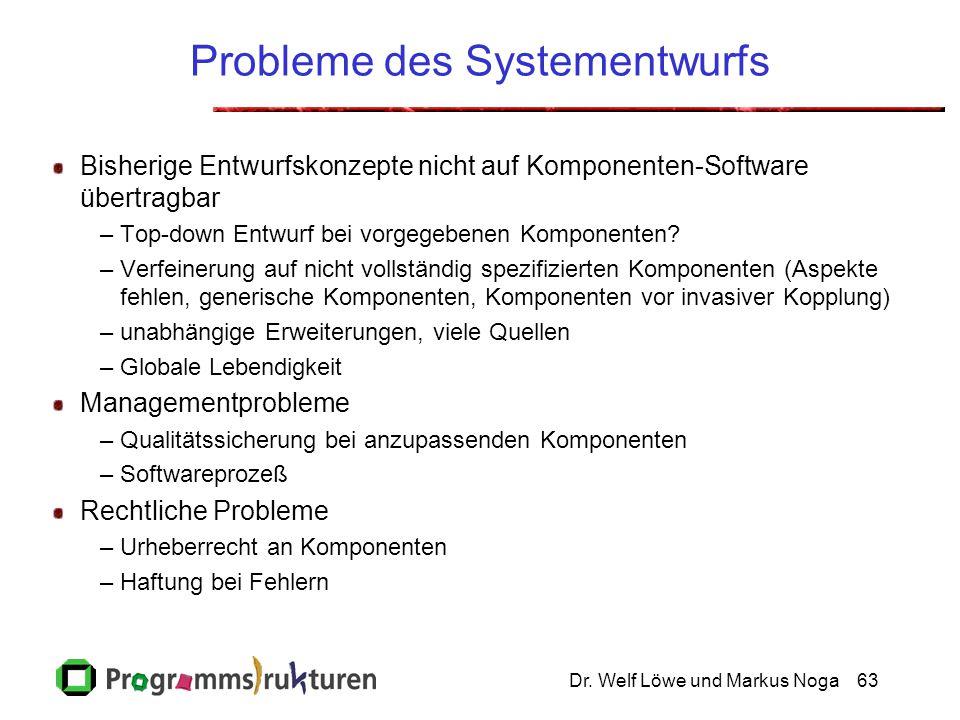 Dr. Welf Löwe und Markus Noga63 Probleme des Systementwurfs Bisherige Entwurfskonzepte nicht auf Komponenten-Software übertragbar –Top-down Entwurf be