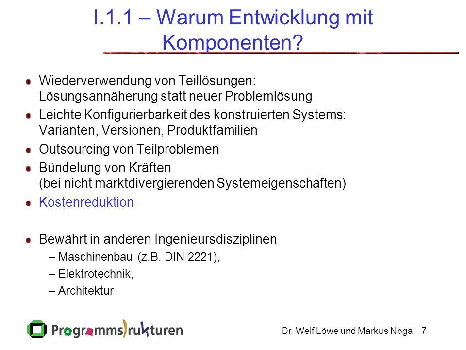 Dr.Welf Löwe und Markus Noga7 I.1.1 – Warum Entwicklung mit Komponenten.
