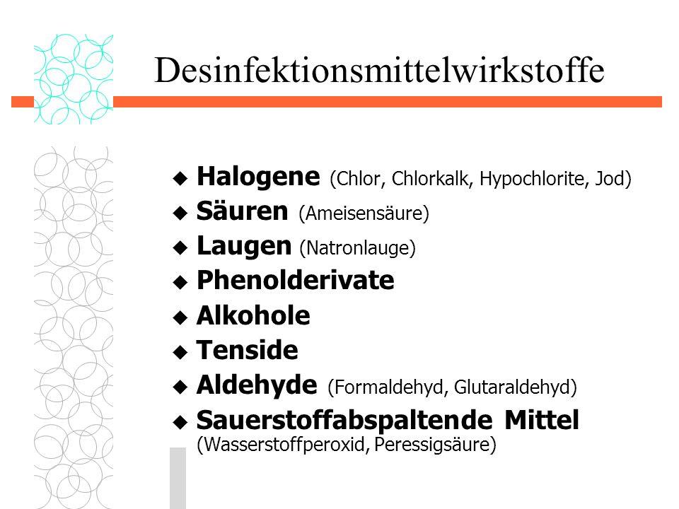 Desinfektionsmittelwirkstoffe  Halogene (Chlor, Chlorkalk, Hypochlorite, Jod)  Säuren (Ameisensäure)  Laugen (Natronlauge)  Phenolderivate  Alkoh