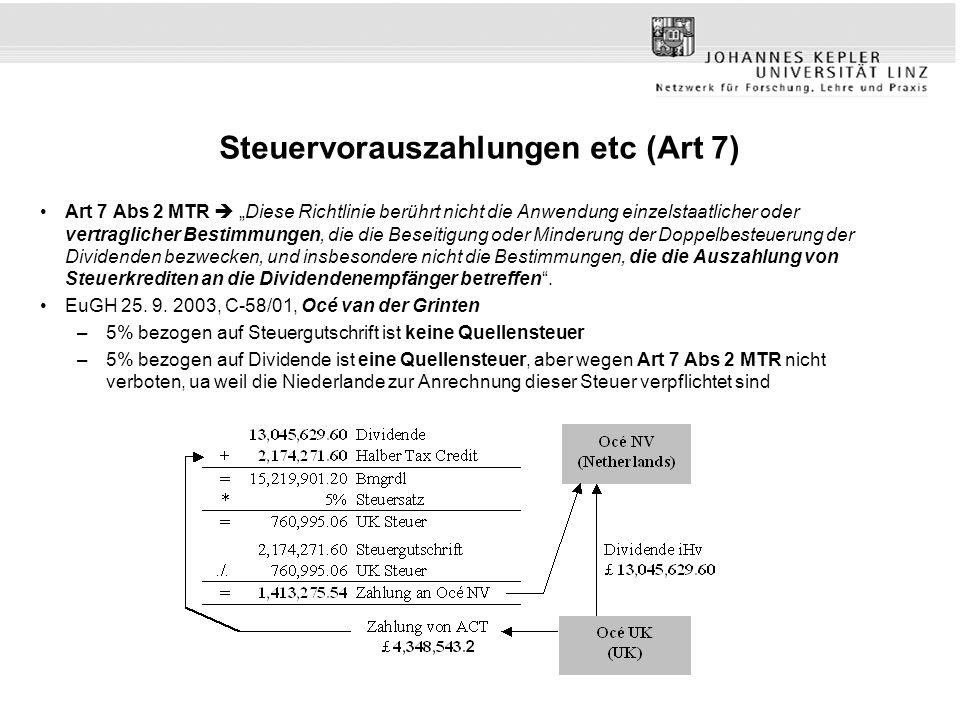 """Steuervorauszahlungen etc (Art 7) Art 7 Abs 2 MTR  """"Diese Richtlinie berührt nicht die Anwendung einzelstaatlicher oder vertraglicher Bestimmungen, die die Beseitigung oder Minderung der Doppelbesteuerung der Dividenden bezwecken, und insbesondere nicht die Bestimmungen, die die Auszahlung von Steuerkrediten an die Dividendenempfänger betreffen ."""