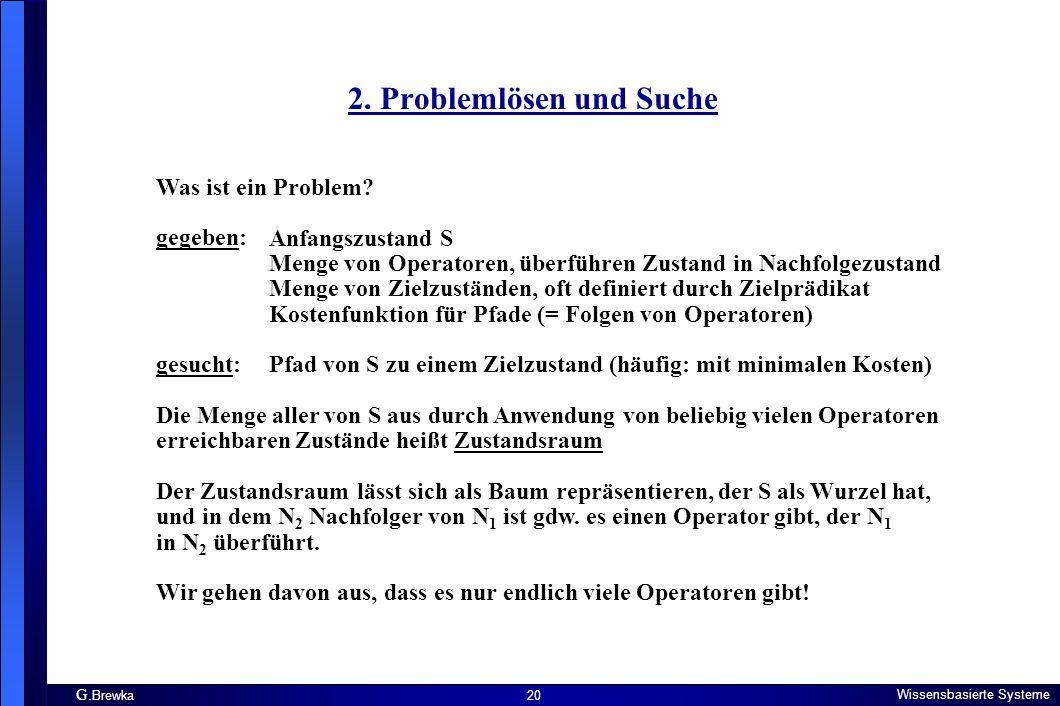 G. Brewka Wissensbasierte Systeme 20 2. Problemlösen und Suche Was ist ein Problem? gegeben: gesucht: Die Menge aller von S aus durch Anwendung von be