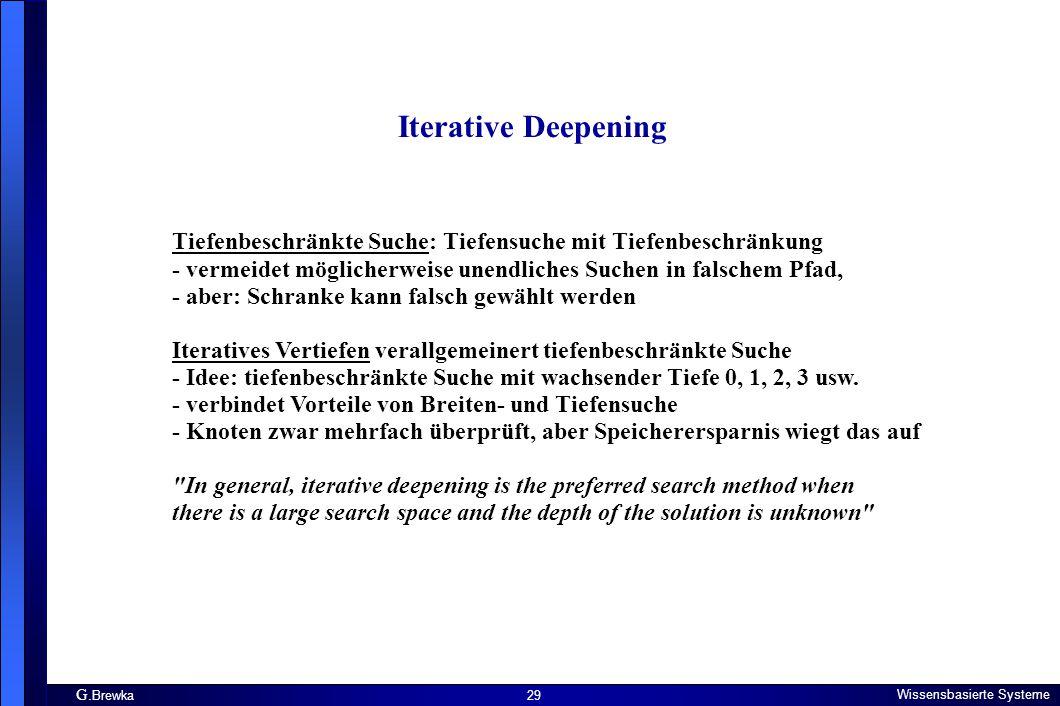 G. Brewka Wissensbasierte Systeme 29 Iterative Deepening Tiefenbeschränkte Suche: Tiefensuche mit Tiefenbeschränkung - vermeidet möglicherweise unendl