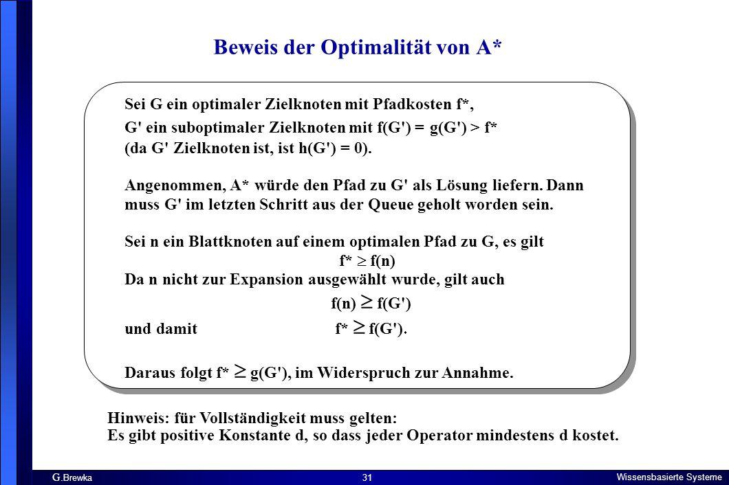 G. Brewka Wissensbasierte Systeme 31 Beweis der Optimalität von A* Sei G ein optimaler Zielknoten mit Pfadkosten f*, G' ein suboptimaler Zielknoten mi