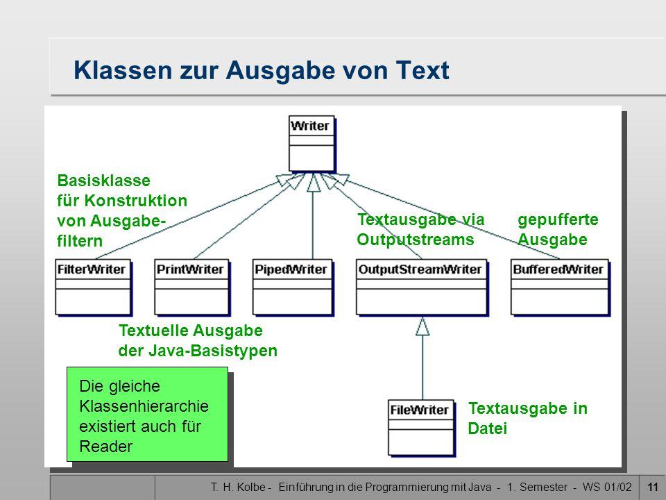 T. H. Kolbe - Einführung in die Programmierung mit Java - 1. Semester - WS 01/0211 Klassen zur Ausgabe von Text gepufferte Ausgabe Textausgabe via Out