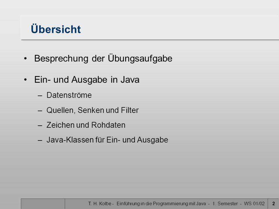T. H. Kolbe - Einführung in die Programmierung mit Java - 1. Semester - WS 01/022 Übersicht Besprechung der Übungsaufgabe Ein- und Ausgabe in Java –Da