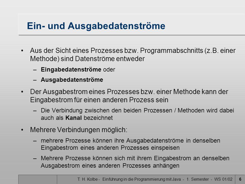 T. H. Kolbe - Einführung in die Programmierung mit Java - 1. Semester - WS 01/026 Ein- und Ausgabedatenströme Aus der Sicht eines Prozesses bzw. Progr