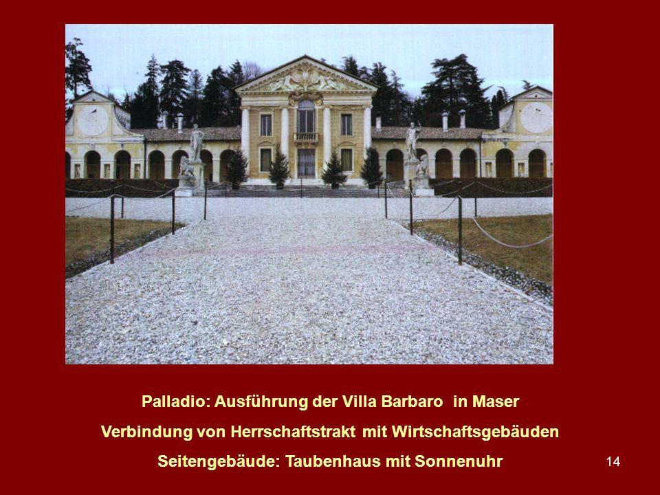 14 Palladio: Ausführung der Villa Barbaro in Maser Verbindung von Herrschaftstrakt mit Wirtschaftsgebäuden Seitengebäude: Taubenhaus mit Sonnenuhr