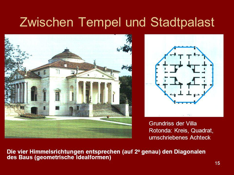 15 Zwischen Tempel und Stadtpalast Grundriss der Villa Rotonda: Kreis, Quadrat, umschriebenes Achteck Die vier Himmelsrichtungen entsprechen (auf 2 o