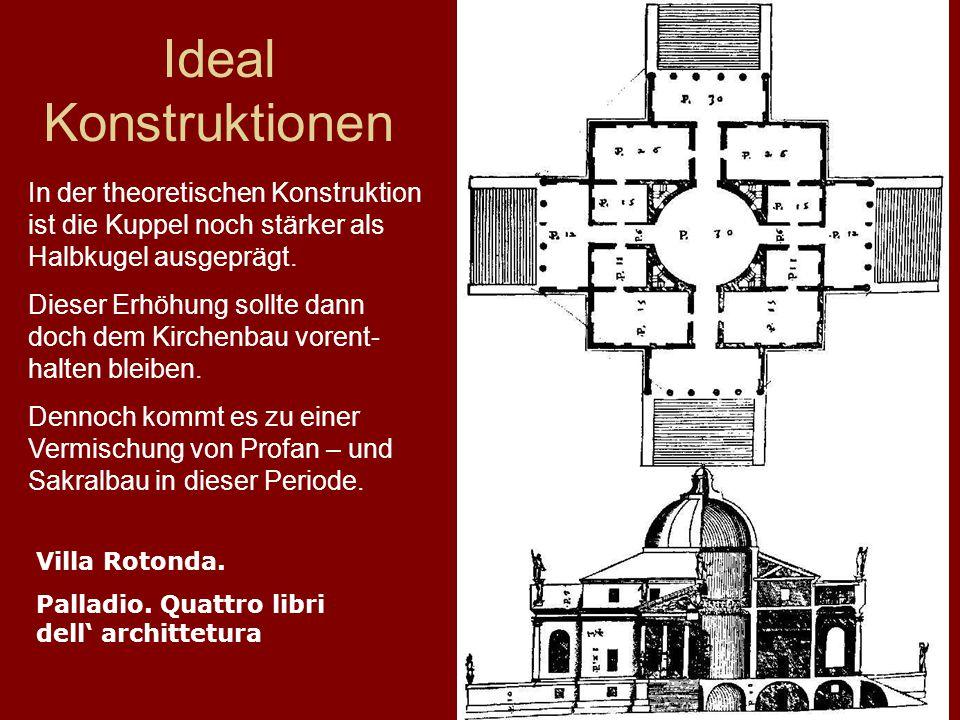 16 Ideal Konstruktionen Villa Rotonda. Palladio. Quattro libri dell' archittetura In der theoretischen Konstruktion ist die Kuppel noch stärker als Ha