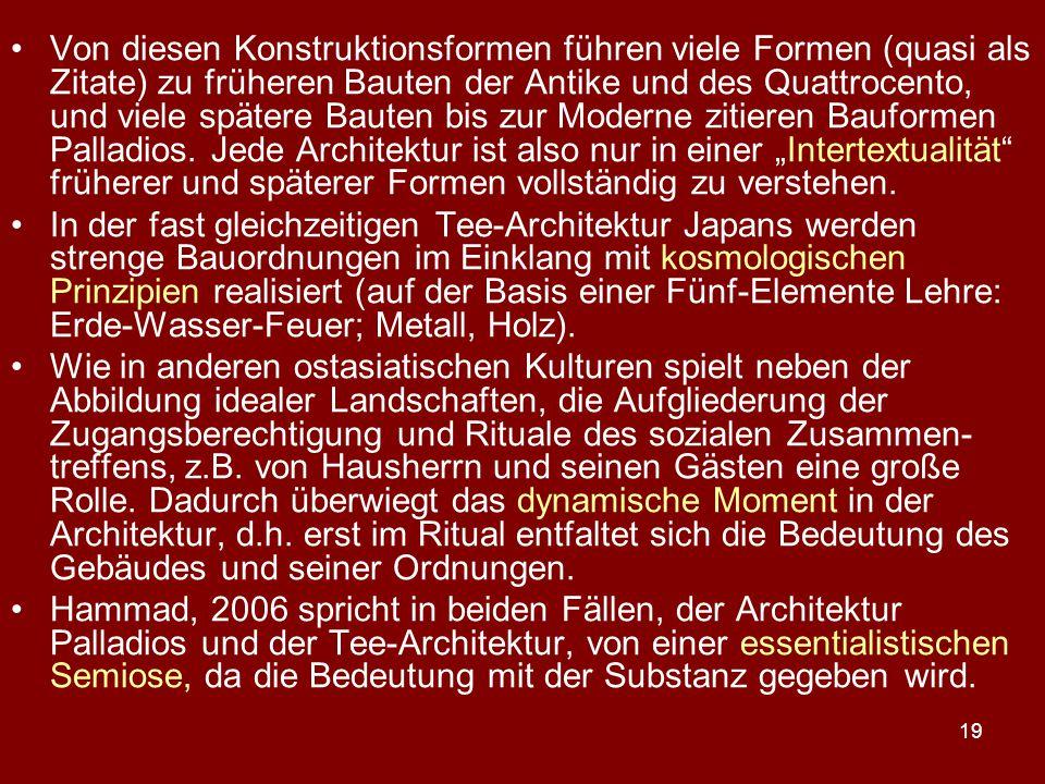 19 Von diesen Konstruktionsformen führen viele Formen (quasi als Zitate) zu früheren Bauten der Antike und des Quattrocento, und viele spätere Bauten