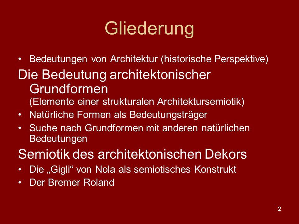 2 Gliederung Bedeutungen von Architektur (historische Perspektive) Die Bedeutung architektonischer Grundformen (Elemente einer strukturalen Architektu